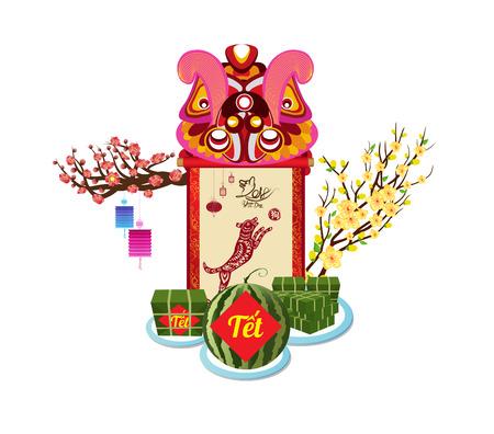 Gâteau de riz gluant carré et fleurs pour le nouvel an vietnamien. Banque d'images - 88612119