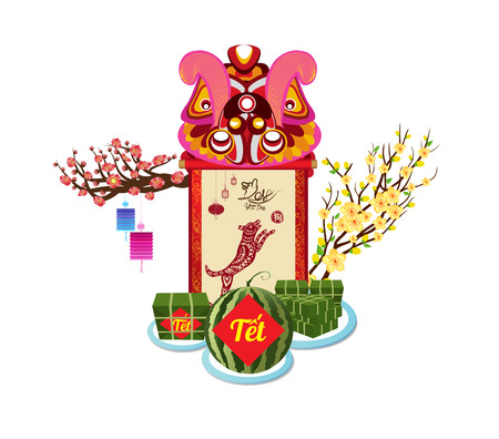 Cooked square glutinous rice cake and flowers for Vietnamese new year.