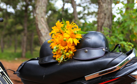 DALAT, 26 October 2017: Road trip ride a motorbike at path of countryside, bush of wild sunflower bloom in yellow, colorful scene in Da Lat, Vietnam