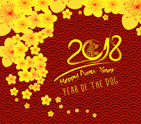 Patrón de plantilla de año nuevo chino 2018