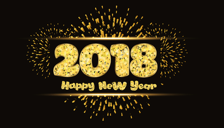 Happy new year 2018 gold background with fireworks.
