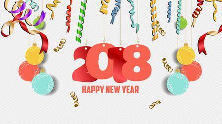 Happy new year 2018 confetti celebration. Colorfull  greeting decoration Illustration