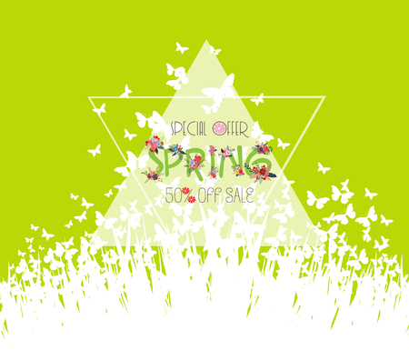 Green spring background. Sale discount vector template