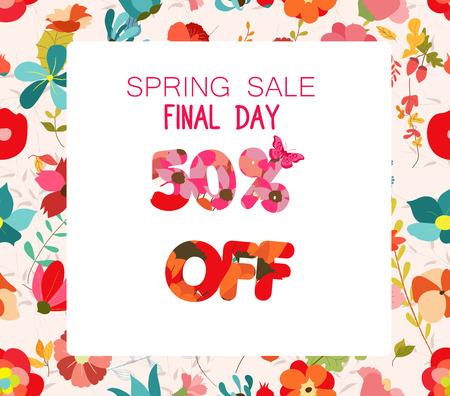 Spring Sale Banner. Sale background. Big sale. Floral Sale Tag Illustration