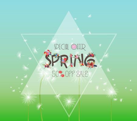 Spring Sale Banner. Sale background. Big sale. Floral Sale Tag 矢量图像