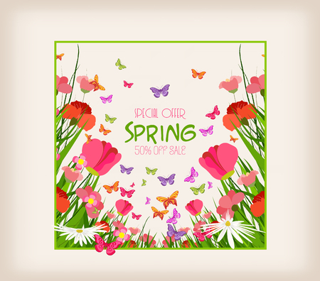 Spring sale flyer - sunny meadow with flowers and butterfly in the grass