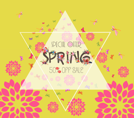 Colorful Graphic Spring Flowers. Sale discount vector template