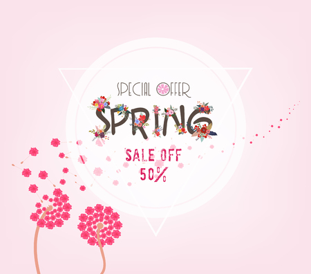 spring sale background with white dandelion