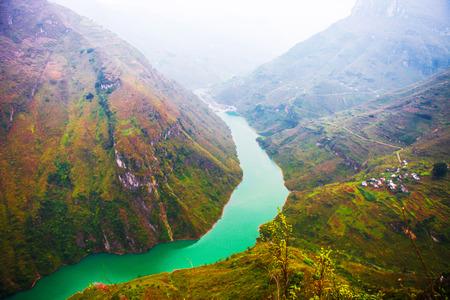 Ma Pi Leng mountain pass in Hagiang, Vietnam. Stock Photo
