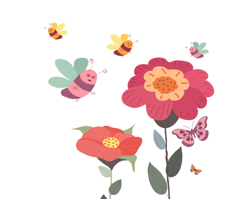 Springs flowers and floral background With butterflies and bees Vector illustration.