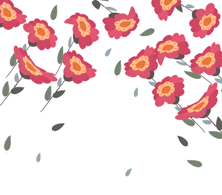 Springs flowers and floral background on white,  Vector illustration. Illustration