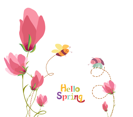 decoration branches with flowers and bees with lettering hello spring Vector illustration. Ilustrace