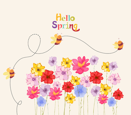 decoration branches with flowers and bees and lettering hello spring, Vector illustration.