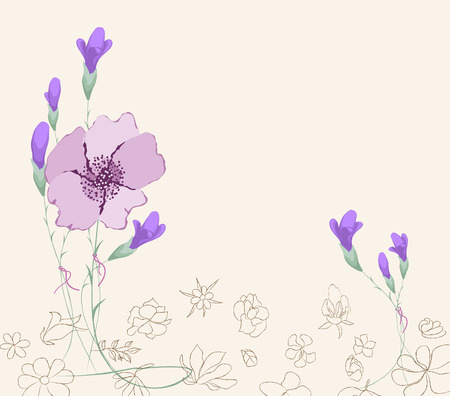 decoration branches with flowers, springtime Vector illustration.