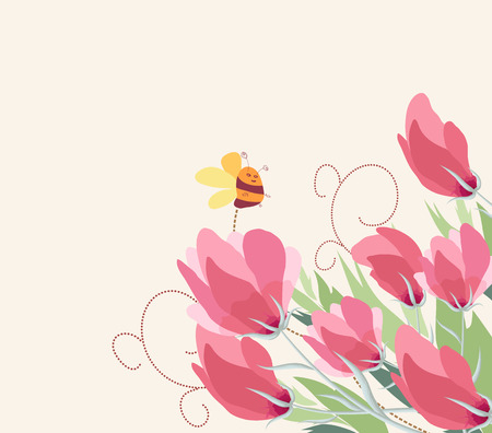 Spring flower background with bee Vector illustration. Ilustração