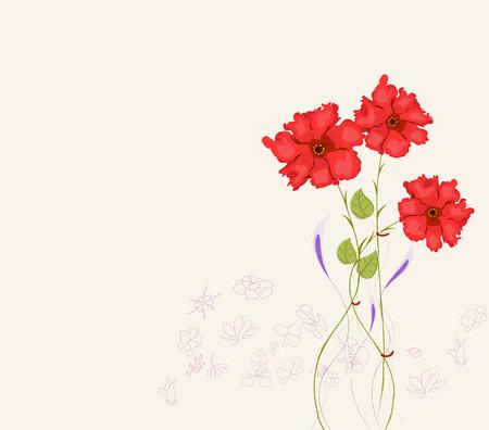 Blooming spring flowers, springtime Vector illustration. Ilustração