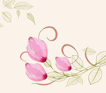 Blooming spring flowers, springtime Vector illustration. Иллюстрация