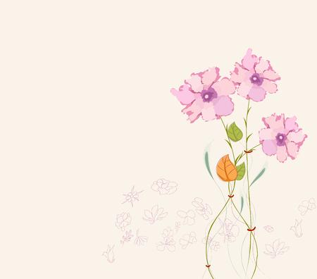 Blooming spring flowers, springtime Vector illustration. 矢量图像