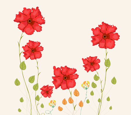 Blooming spring flowers, springtime Vector illustration. Illustration