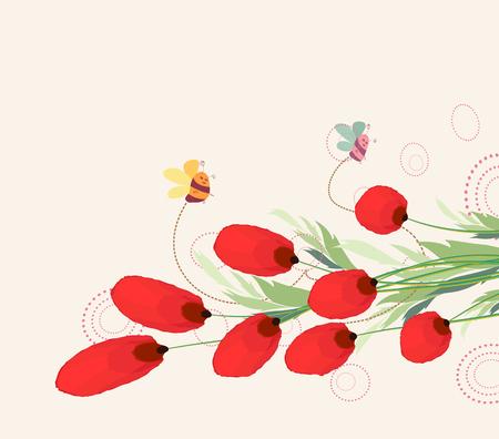Blooming spring flowers, springtime Vector illustration. Illustration