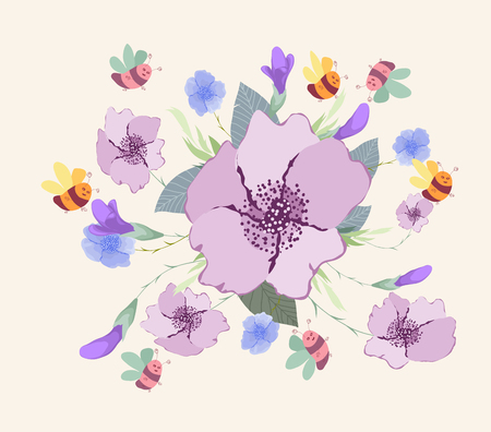 Design with spring flowers background.