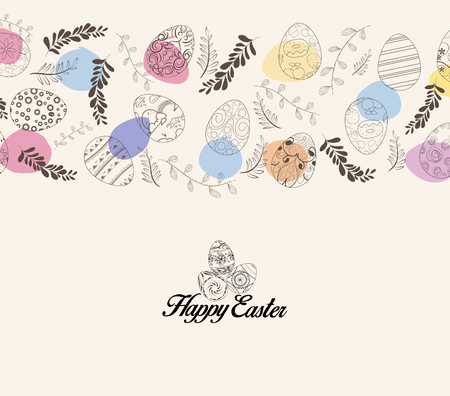 Easter greeting card with eggs and flowers.