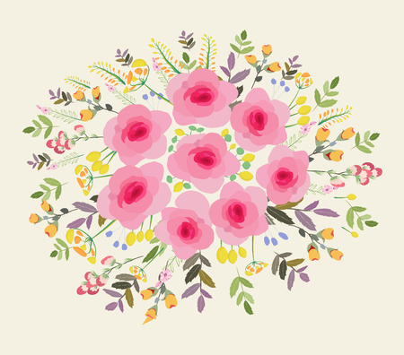 Greeting card flowers. Floral illustration with field flowers in vintage style. Spring, summer Ilustração