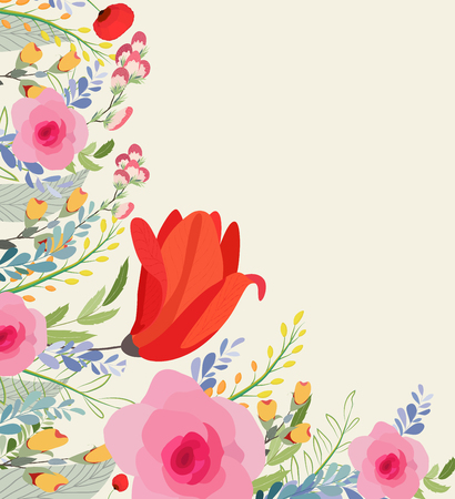 Greeting card flowers. Floral illustration with field flowers in vintage style. Spring, summer Ilustração