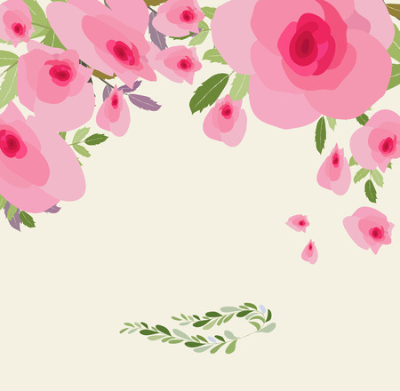 Greeting card flowers. Floral illustration with field flowers in vintage style. Spring, summer Illustration