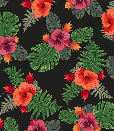 Tropical background of palm trees and flowers Vector illustration. Illustration