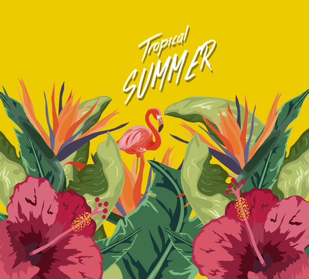Summer tropical background. Flamingo bird with palm and banana leaves Vector illustration.