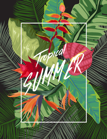 Background of palm leaves and tropical flowers Vector illustration.