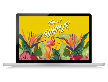 Tropical summer on laptop background