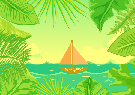 Hello Summer Beach Party.Tropical jungle rain forest plants  with boat Illustration