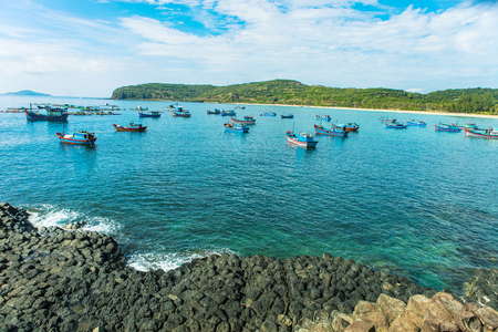 Ganh Da Dia, Phu Yen, Viet Nam, masterpiece of nature, wonderful, fantastic heritage, abstract place for Vietnam travel, rock make great terrain, boat on sea make beauty landscape of ganhdadia