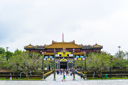 HUE, VIETNAM, April 28th, 2018: Imperial Royal Palace of Nguyen dynasty in Hue, Vietnam Sajtókép
