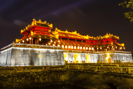 Entrance into Imperial city in Hue Vietnam evening