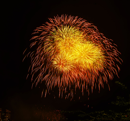 Fireworks celebrating the coming New Year 2019