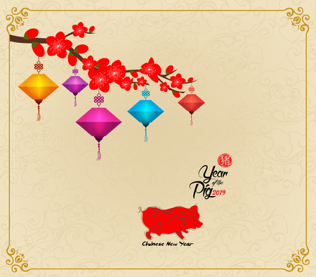 Chinese New Year design. Pig with plum blossom in traditional chinese background. (hieroglyph pig)