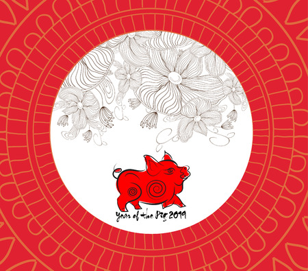 Chinese new year pattern background with flower. Year of the pig