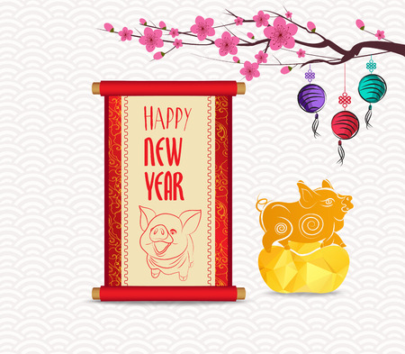 Chinese New Year festive vector card with scroll and chinese calligraphy 2019 Illustration