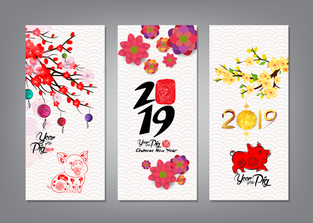 Vertical Hand Drawn Banners Set with Chinese New Year 版權商用圖片 - 102556773