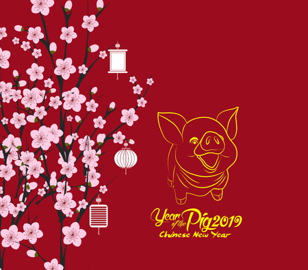 traditional chinese new year. Blossom background. Year of the pig