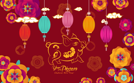 Happy Chinese New Year 2019, paper art flowers and pig design in red and gold, happy pig year