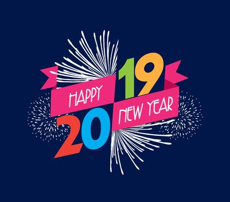 Illustration vectorielle de feux d'artifice. Bonne année 2019 fond Banque d'images - 103295301