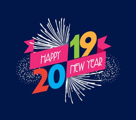 Vector illustration of fireworks. Happy new year 2019 background