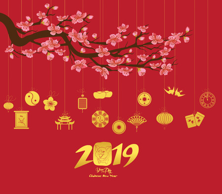 Chinese new year 2019 with lantern. Year of the pig