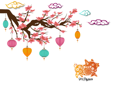 Chinese New Year greeting card with Blooming Sakura Branches. 2019 year of pig in Chinese calendar