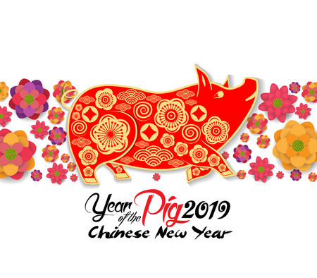 2019 chinese new year greeting card, paper cut with yellow pig and blooming background. Year of the pig