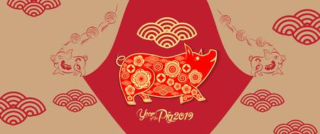 happy new year 2019 chinese new year greetings year of the pig stock vector